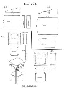 odkládací stolek a police na knihy